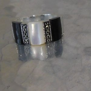Jewelry - Black & White Ring Size 8 3/4!